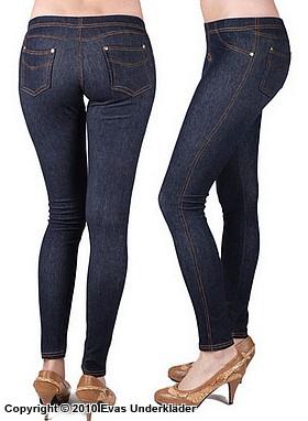 Leggings i jeansimitation, långa